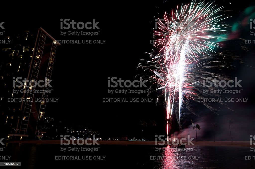 Hawaiian Village fireworks show royalty-free stock photo