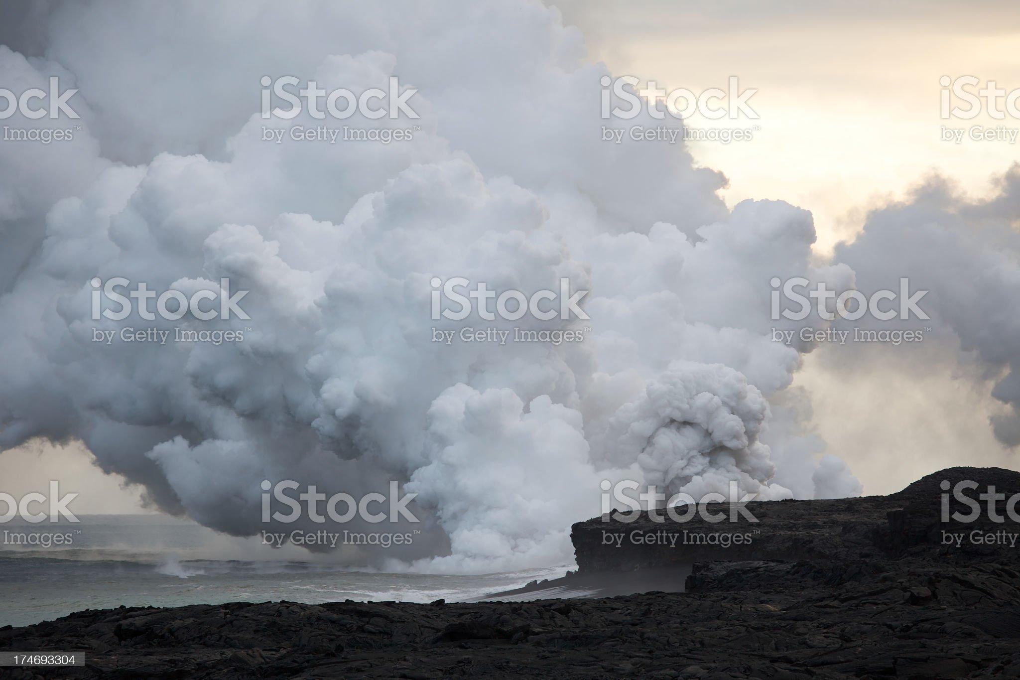 Hawaiian Volcano Kilauea explodes into the Pacific royalty-free stock photo