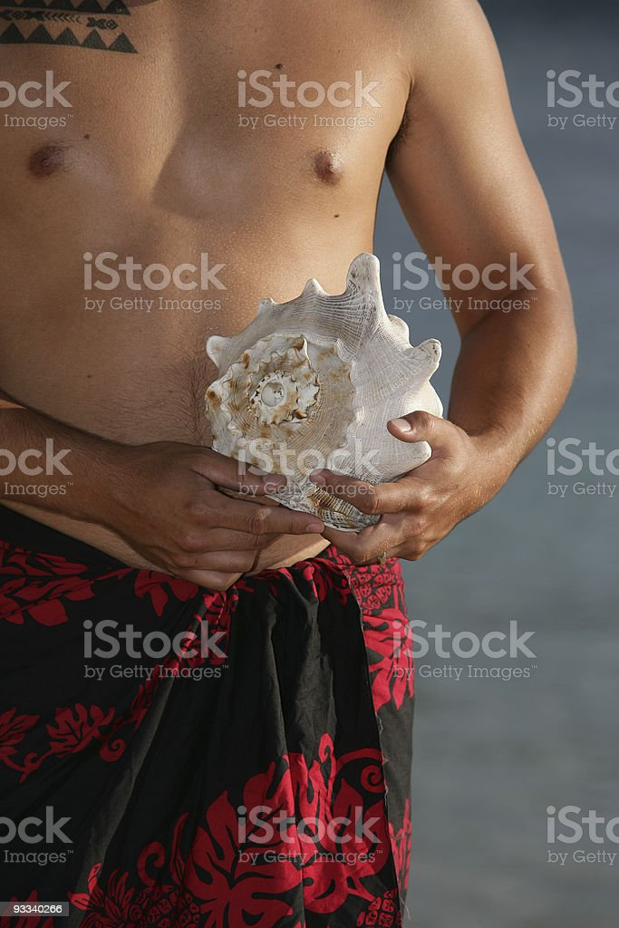 Hawaiian with seashell royalty-free stock photo