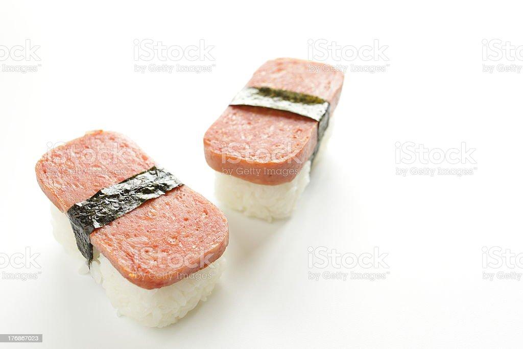 Hawiian food, spiced ham rice ball stock photo