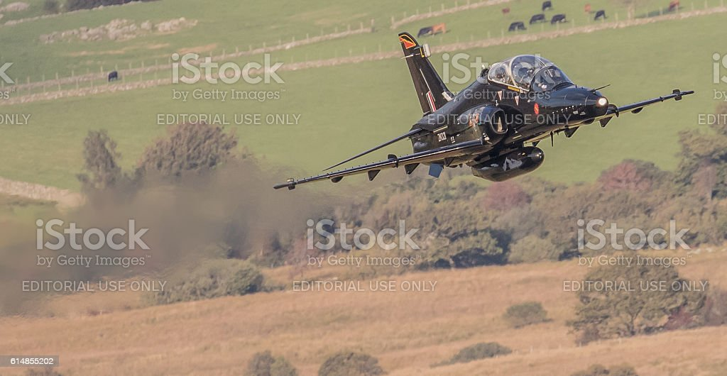 Hawk military trainer - low flying stock photo