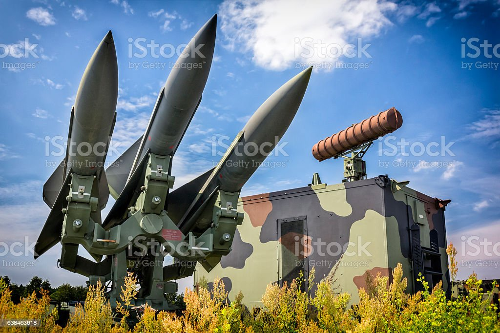 US Hawk missles in defense readiness stock photo