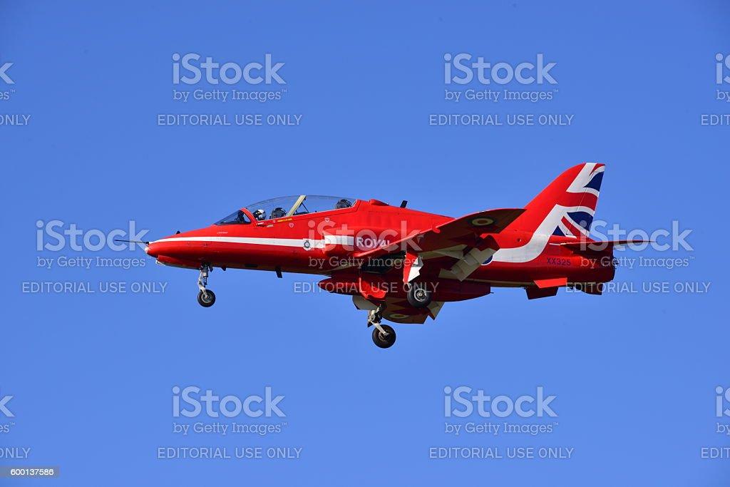 RAF Hawk T1 Red Arrow, Jersey, U.K. stock photo