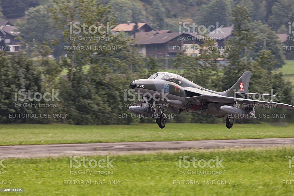 Hawker Hunter Swiss Airforce veteran taking off stock photo