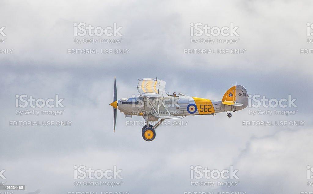 Cleethorpes, England - July 28, 2013: Hawker Nimrod Biplane flyi royalty-free stock photo