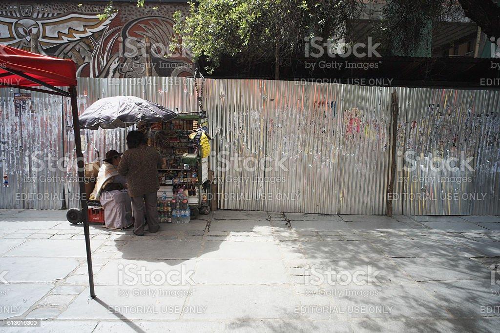 Hawker Trade in La Paz stock photo
