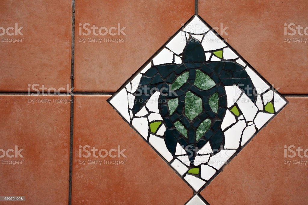 Hawksbill Sea Turtle Floor tiles background stock photo