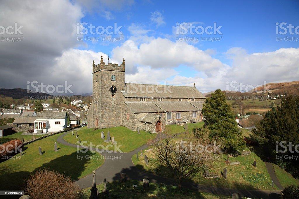 Hawkshead church stock photo