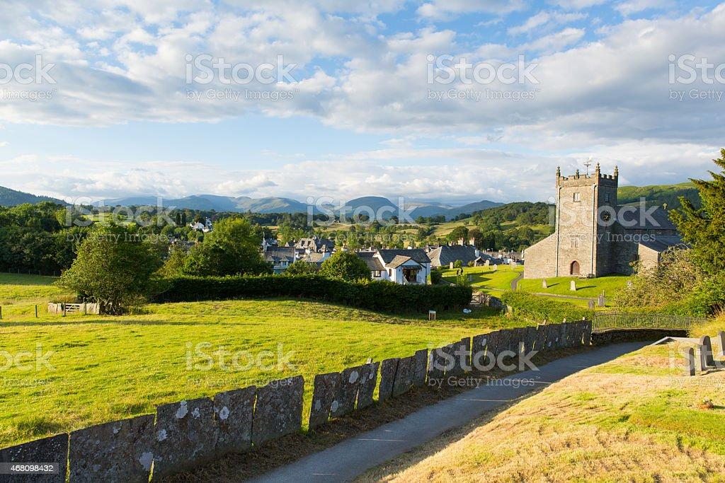 Hawkshead Lake District England uk beautiful village with church stock photo