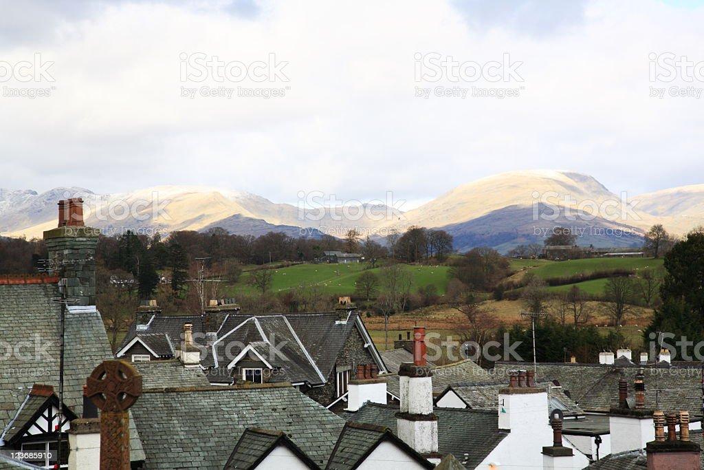 Hawkshead village in Lake District stock photo