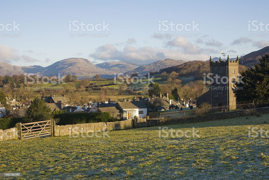Hawkshead village stock photo