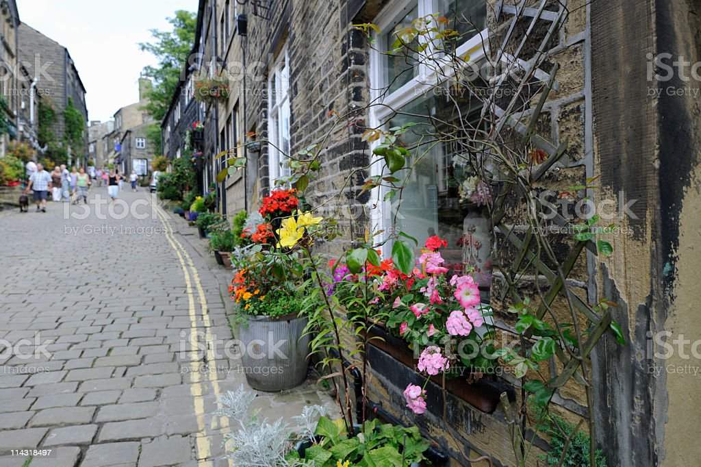 Haworth High Street with Cobblestones and Millstone Grit Terraced Houses royalty-free stock photo