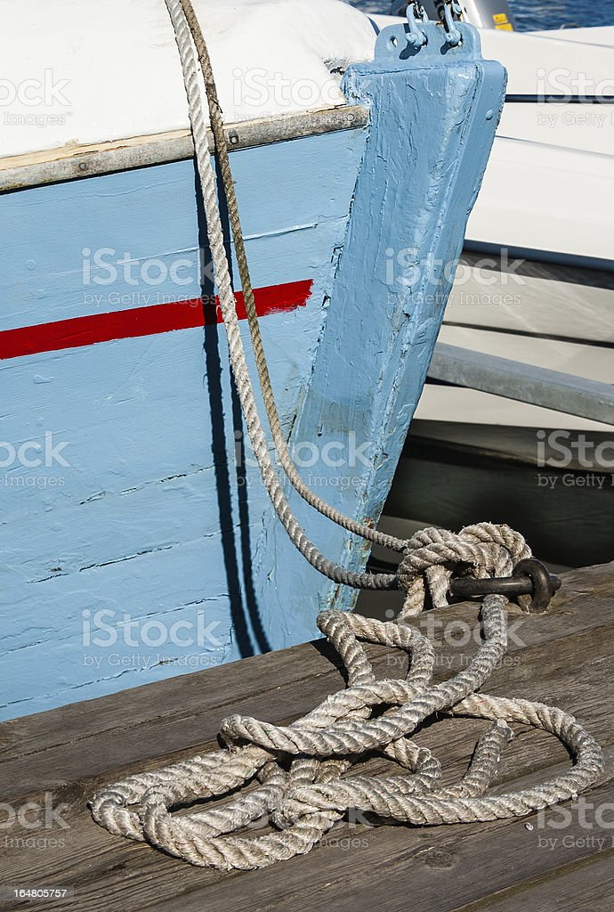 Hawser and boat royalty-free stock photo