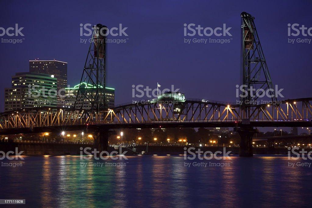 Hawthorne Bridge and Downtown Portland stock photo