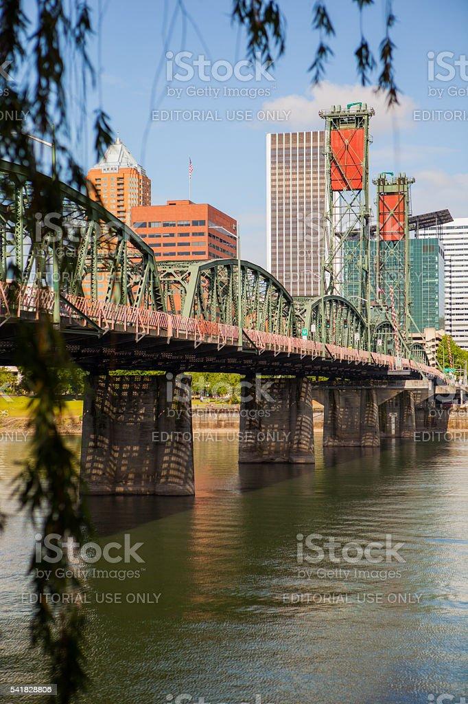 Hawthorne Bridge in downtown Portland Oregon. stock photo