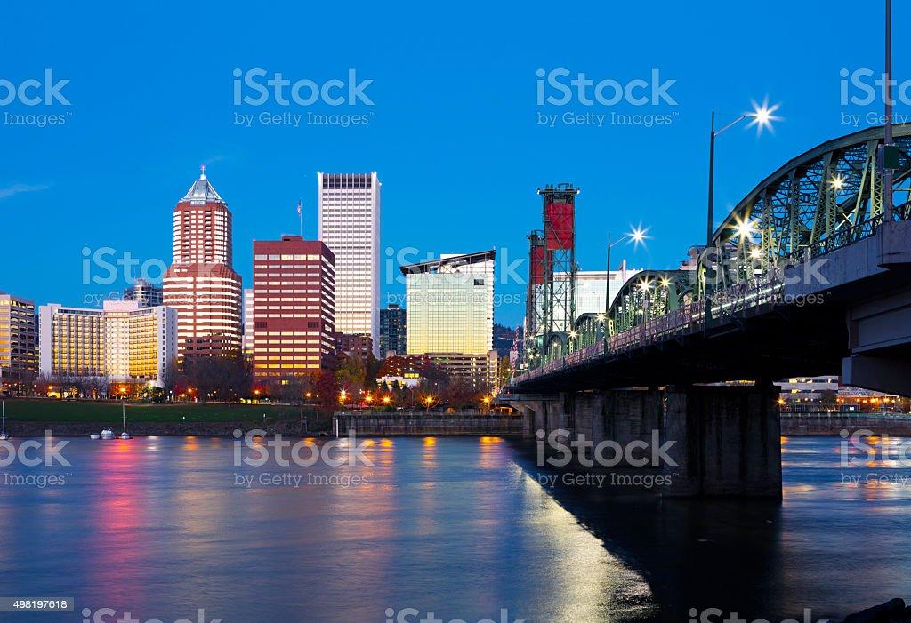 Hawthorne Bridge Portland Oregon. stock photo