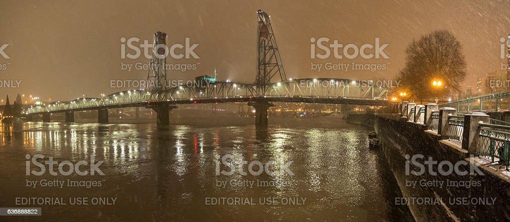 Hawthorne Bridge Willamette River Tom McCall Waterfront Park Portland Oregon stock photo