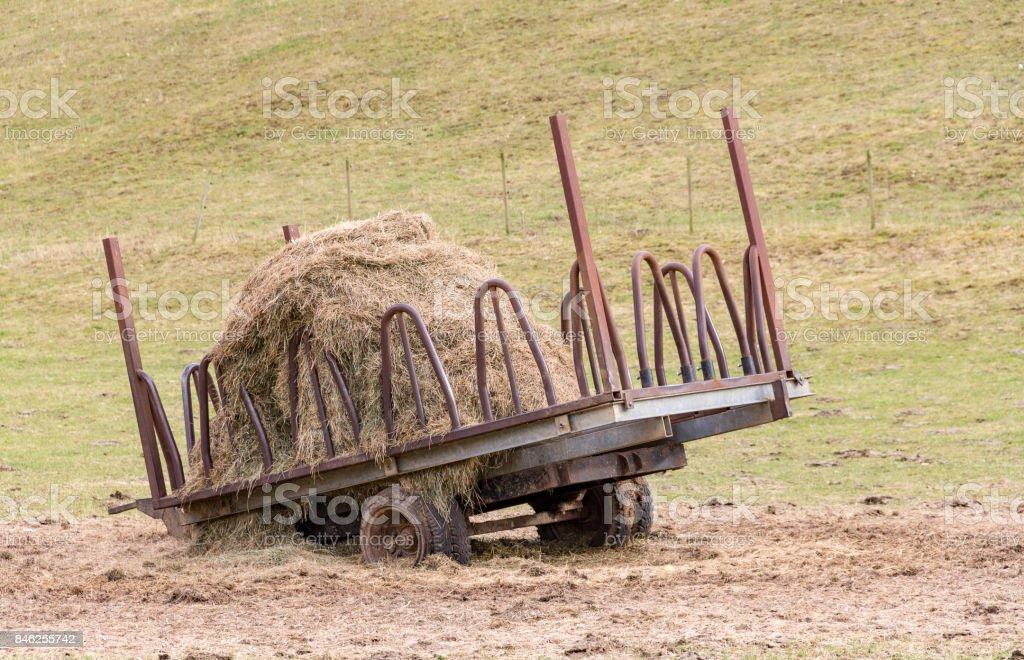 hay and hayrack stock photo