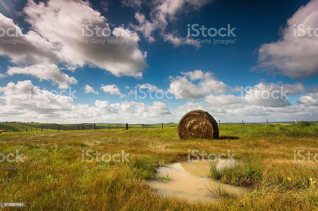 Hay Bale Reflections stock photo