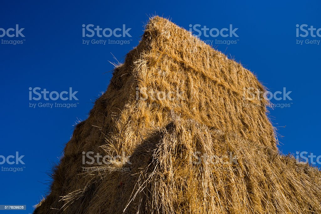 Hay Bales and Clear Blue Sky stock photo
