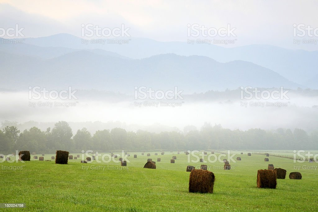 hay bales in smoky mountains royalty-free stock photo