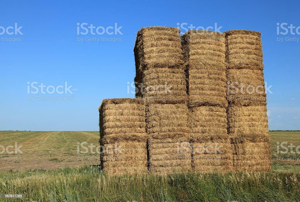 Hay bales piled high royalty-free stock photo