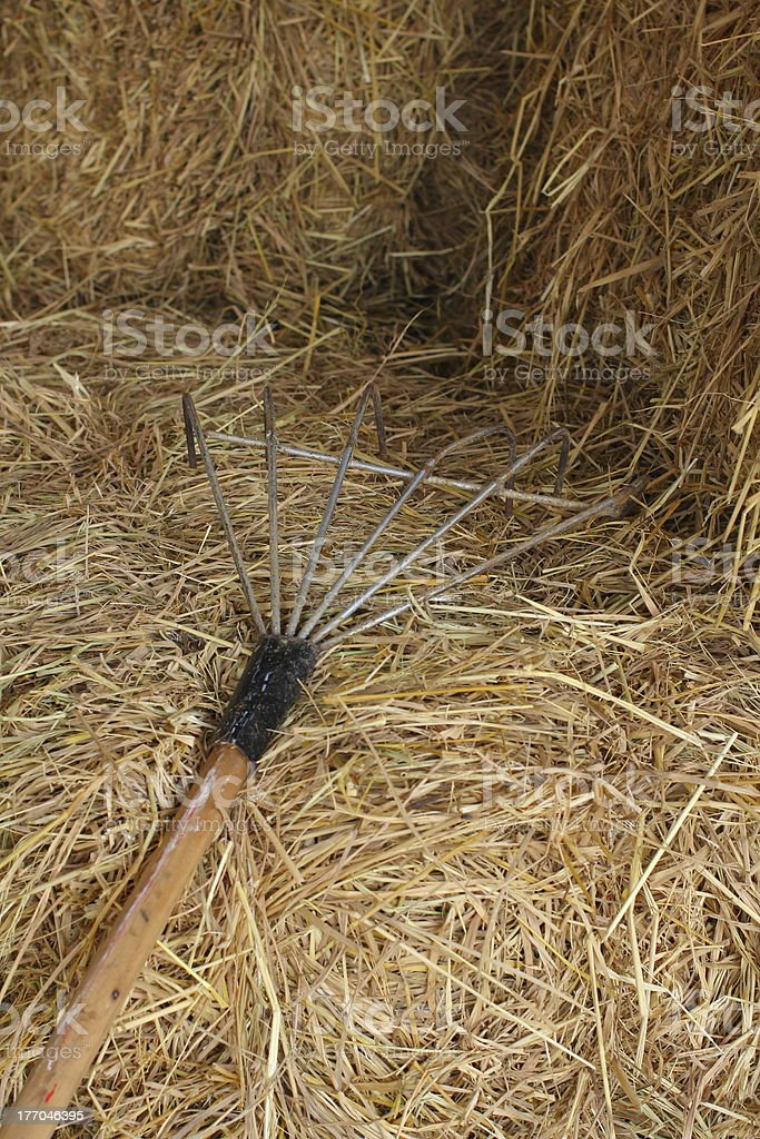 Hay bales with tools royalty-free stock photo