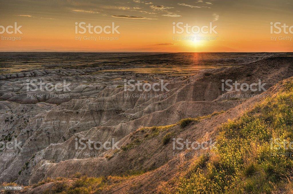 Hay Butte Overlook Sunset - Badlands National Park stock photo