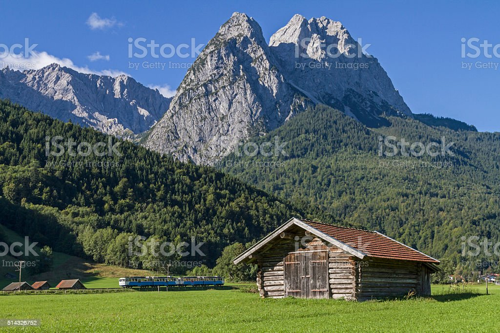 hay hut and Waxenstein stock photo