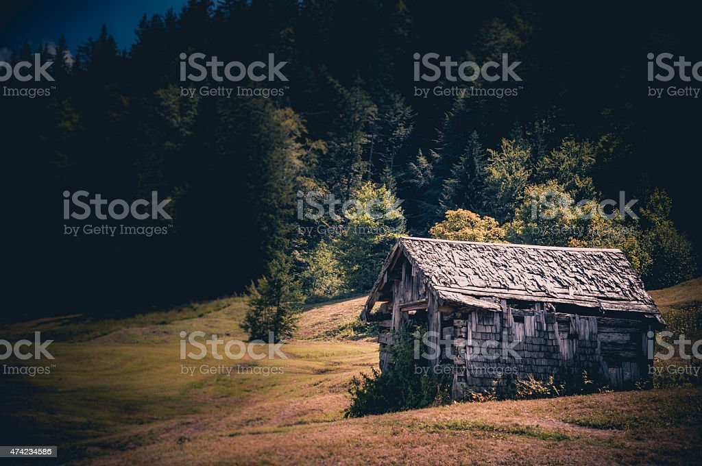 Hay hut stock photo
