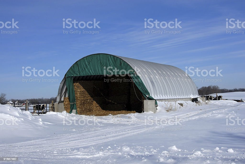 Hay Quonset in the Snow royalty-free stock photo
