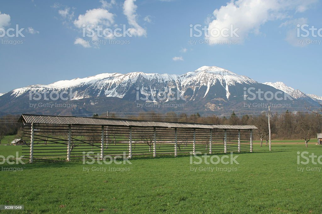 Hay Rack and the Alps royalty-free stock photo