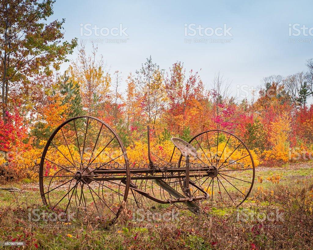 Hay Rake In The Autumn of It's Life stock photo