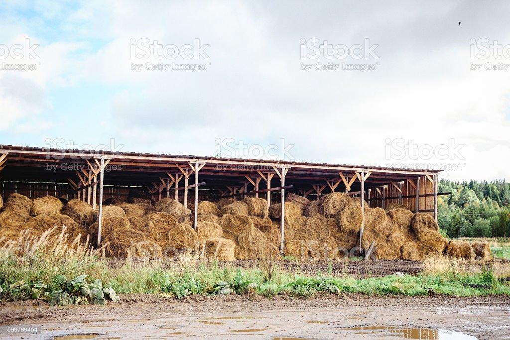 hay stack warehouse stock photo