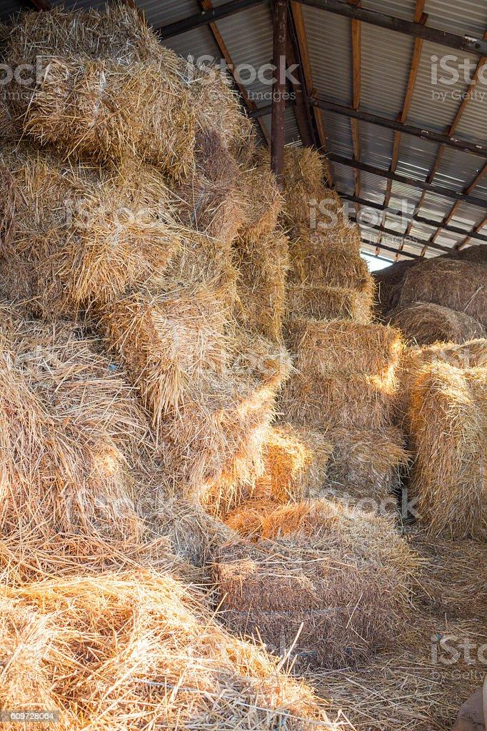 Hay stacks at farm haylof hangar stock photo