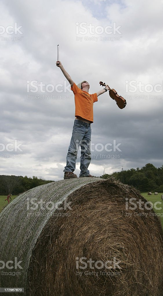 Haybale Fiddler royalty-free stock photo