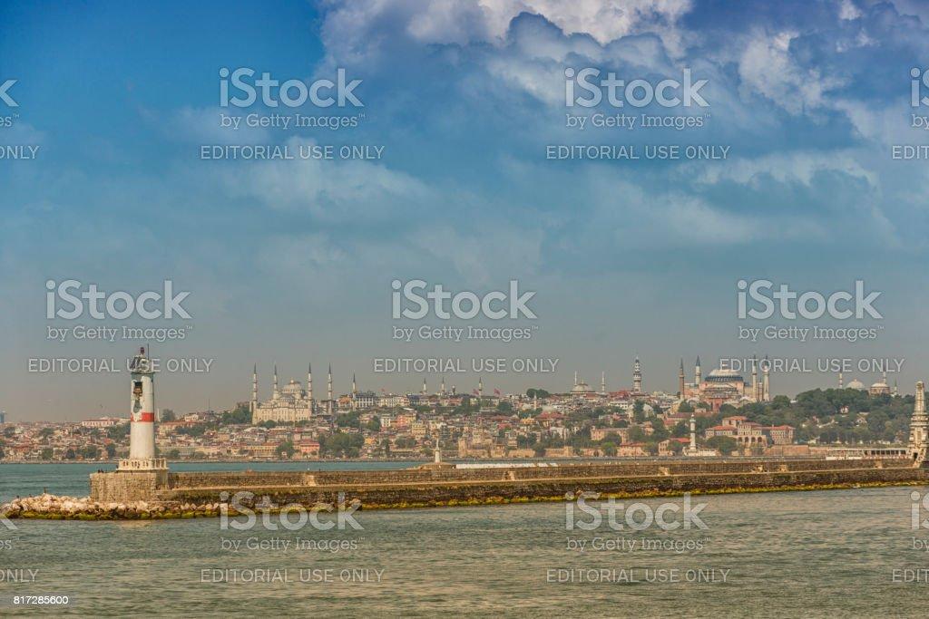 Haydarpasa harbour port lantern at bosphorus istanbul turkey stock photo