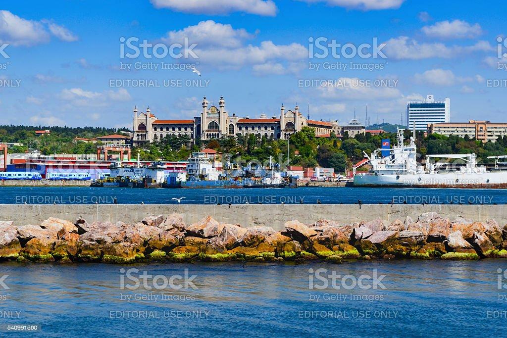 Haydarpasa port and Marmara University Haydarpasa campus in the stock photo