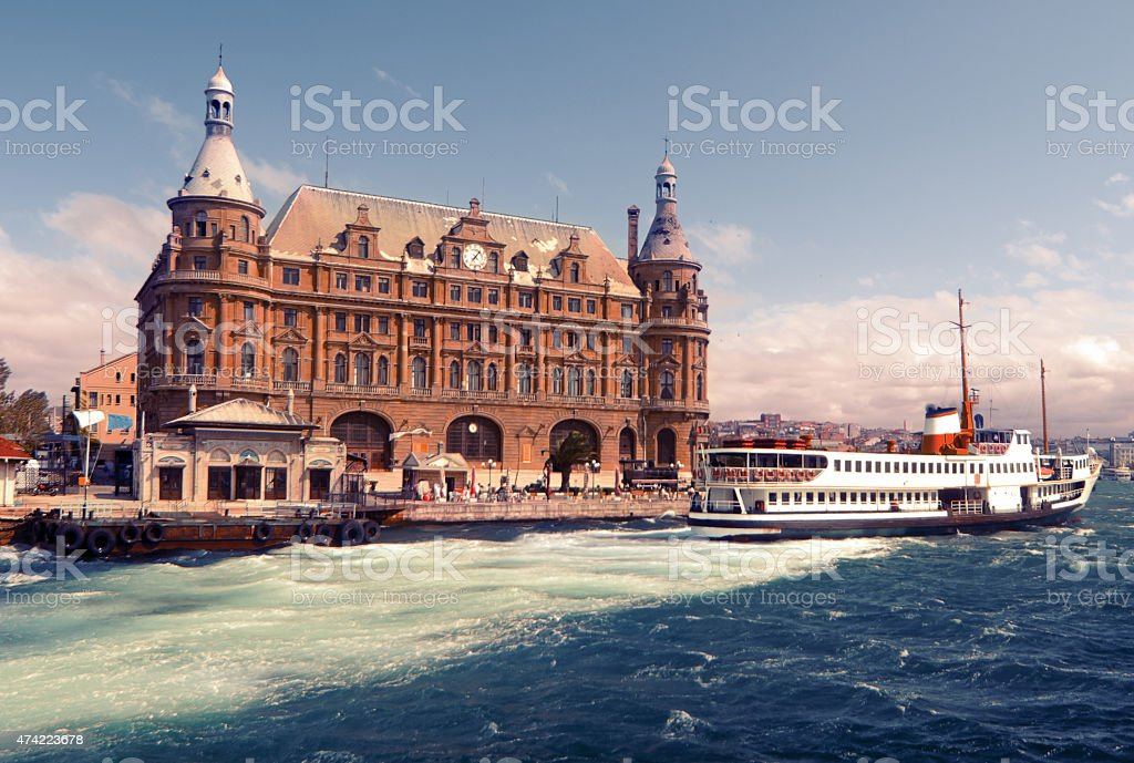 Haydarpasha Terminal in Istanbul and a ferry stock photo