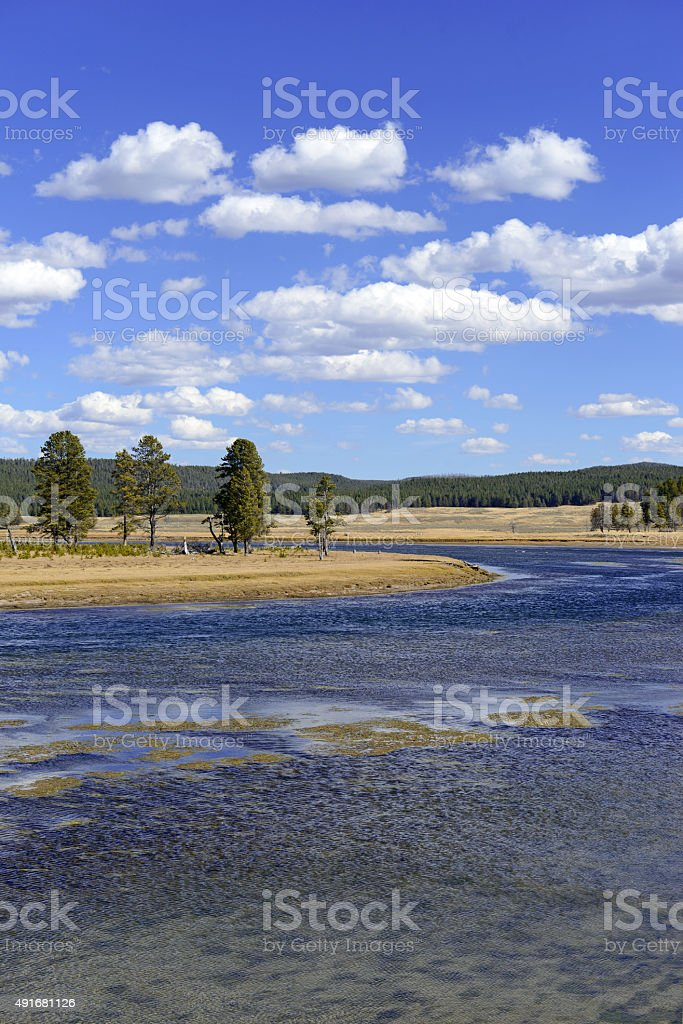 Hayden Valley and Yellowstone River, Yellowstone National Park, Wyoming, USA stock photo
