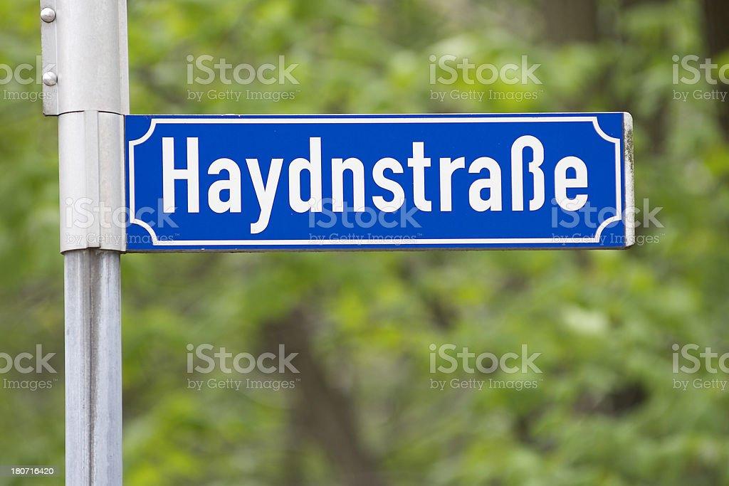 Haydnstrasse street sign royalty-free stock photo