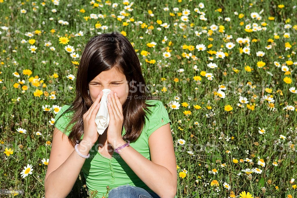 hayfever or allergy, child blowing nose stock photo