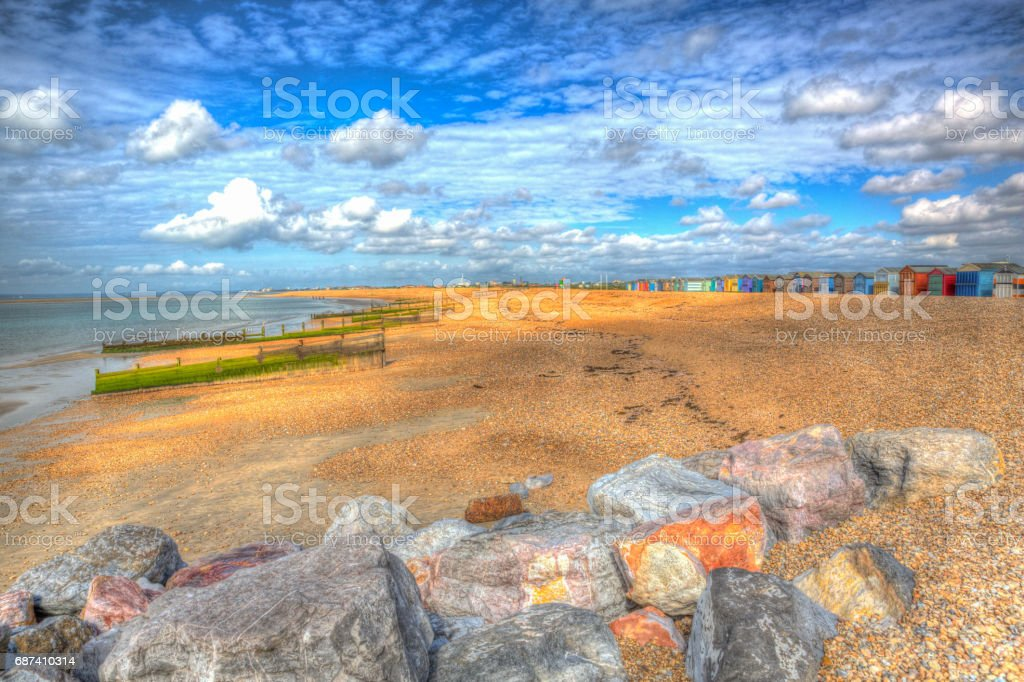 Hayling Island beach near Portsmouth England UK in colourful hdr stock photo