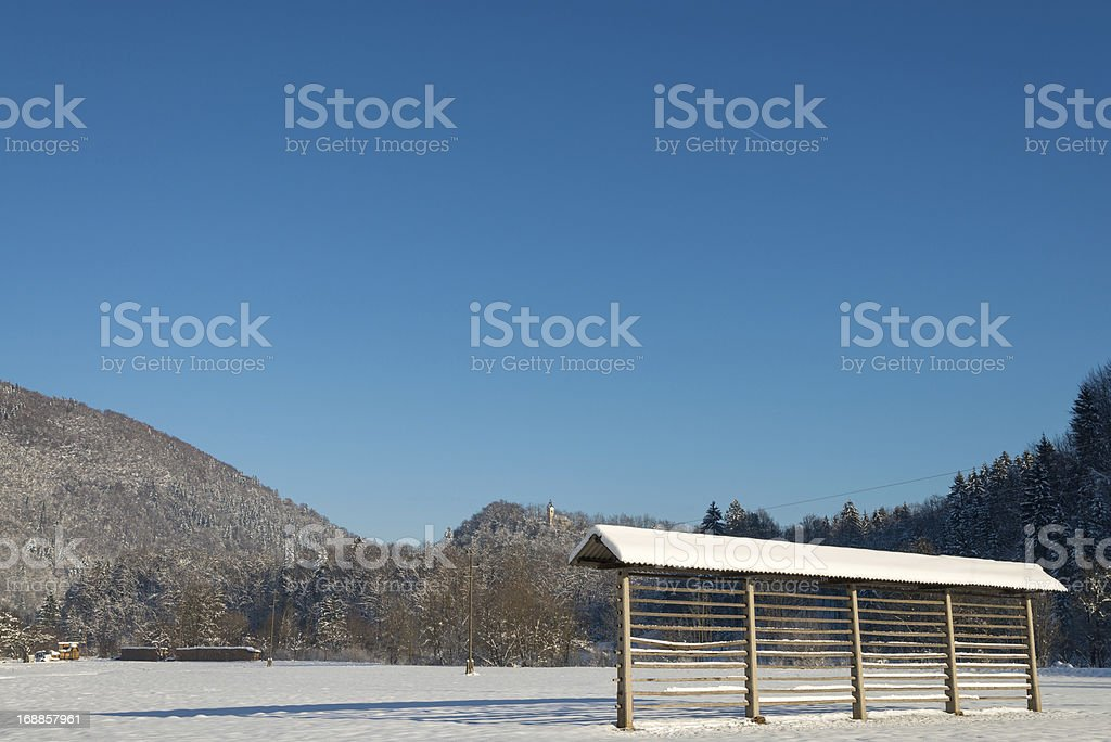 Hayrack on field royalty-free stock photo