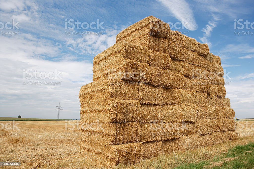 haystack and cloudscape royalty-free stock photo