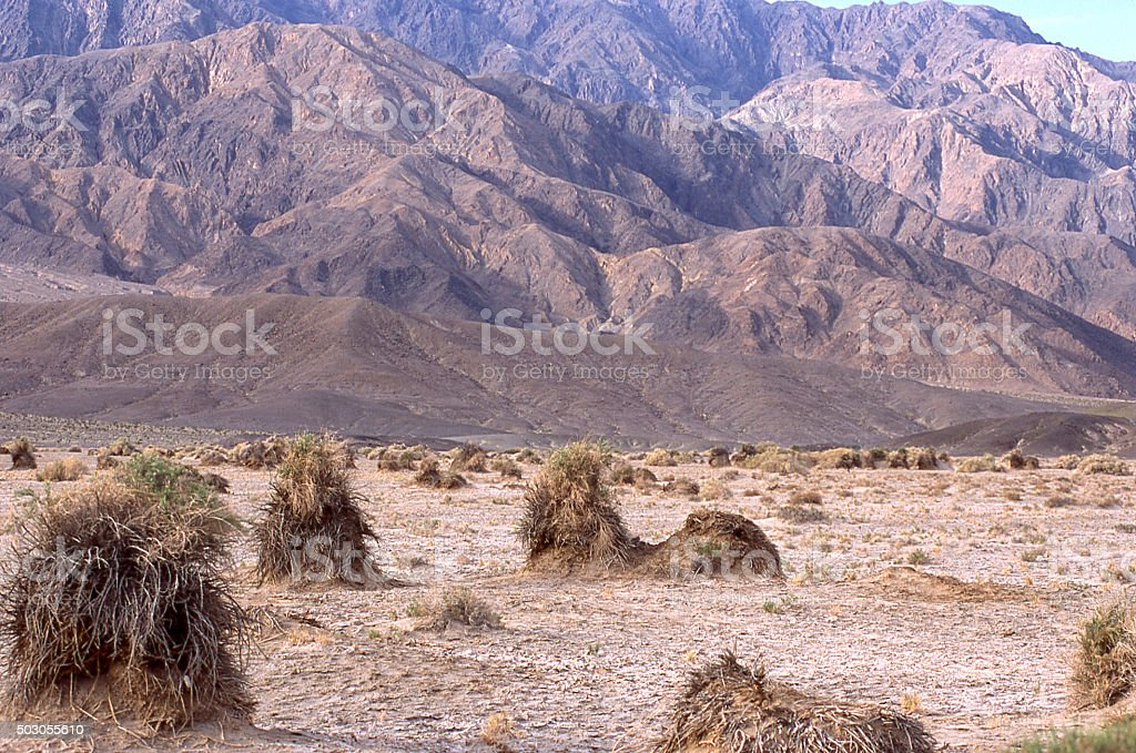 Haystack blowout aeolian wind erosion Death Valley National Park California stock photo