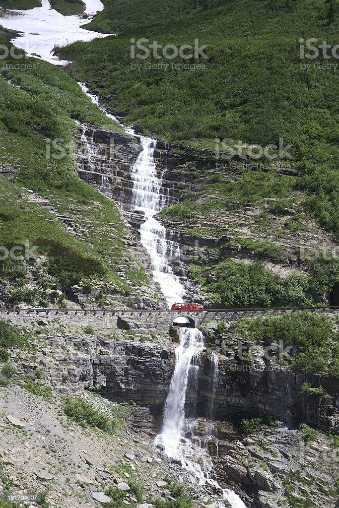 Haystack Falls - Glacier Park stock photo