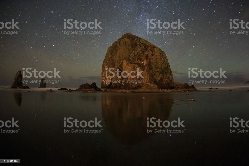 Haystack Rock And The Stars stock photo
