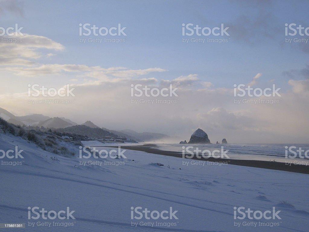 haystack rock in december stock photo