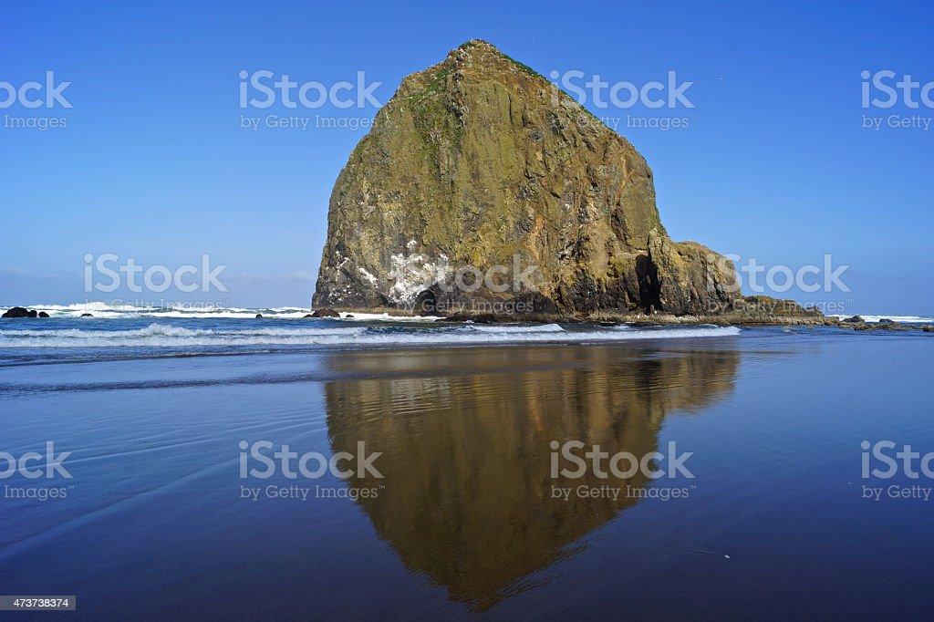Haystack Rock Mirror stock photo